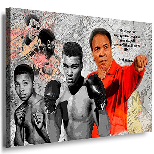 Julia-Art Leinwandbilder - Muhammad Ali Boxer Aller Zeiten Bild 1 teilig - 120 mal 80 cm Leinwand auf Rahmen - sofort aufhängbar Wandbild XXL - Kunstdrucke QN47-6