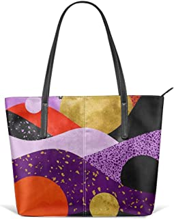 Terrazzo Galaxy Purple Orange Gold Leather Tote Large Purse Shoulder Bag Portable Storage HandBags Convenient Shoppers Tote