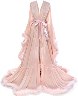 Women Sexy Feather Long Wedding Scarf Illusion Nightgown Robe Perspective Sheer Bathrobe Sleepwear