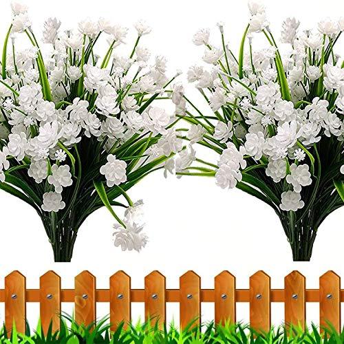 YYHMKB Flores Artificiales, 6 Piezas Plantas de Exterior Falsas Arbustos Verdes de plástico sintético Jardinera Colgante para Interiores y Cocina para el hogar Decoración para Bodas Blanco