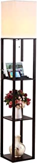 Brightech Maxwell Charging Edition - LED Shelf Floor Lamp for Living Rooms & Bedrooms - Includes USB Ports & Electric Outlet - Modern Standing Light - Asian Display Shelves - Black