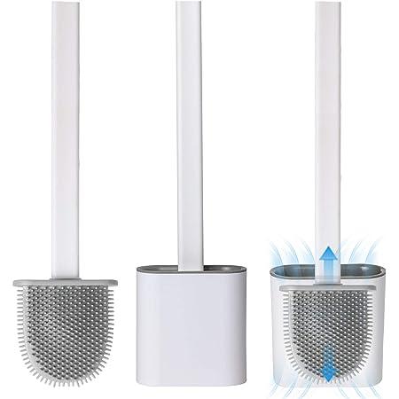Genfien Cepillo Inodoro Silicona Juego de Escobilla + Soporte para Baño Portaescobillas con Cepillo de Cerdas Suaves (Montaje en Pared)