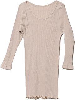 オーガニックコットン天衣無縫 リブ?8分袖シャツ ブラウンM~L(フリー)