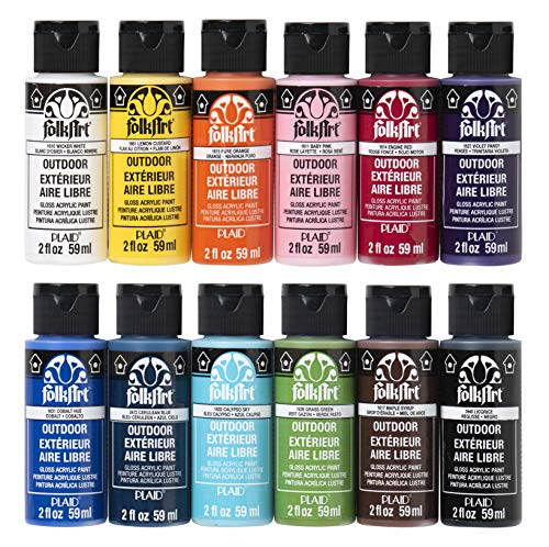 FolkArt Outdoor Gloss Acrylic Craft Paint Set Designed for Beginners and Artists, Non-Toxic Formula Perfect for Rock Designing, Twelve Bottles, 2 oz, 24 Fl Oz