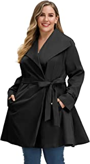 Hanna Nikole Women Plus Size Trench Coat Long Lapel Collar Jacket Windbreaker