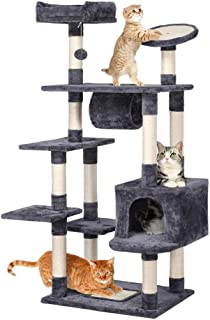 Yaheetech 62-inch Cat Tree Condo with Scratching Post Plush Perch and Tunnel,Cat Tower Furniture