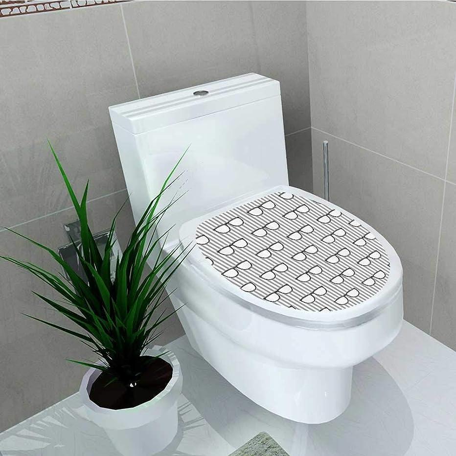 Printsonne Toilet Seat Sticker Groovy Popular Hipster Glass Vertical Stripe Background shiable Nerd Eyes Waterproof Decorative Toilet Cover Stickers W12 x L14