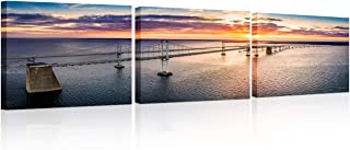 TUMOVO Wall Art for Living Room Chesapeake Bay Bridge Wall Decor 3 Pieces Artwork with Wood Frame Seascape at Sunset Poste...