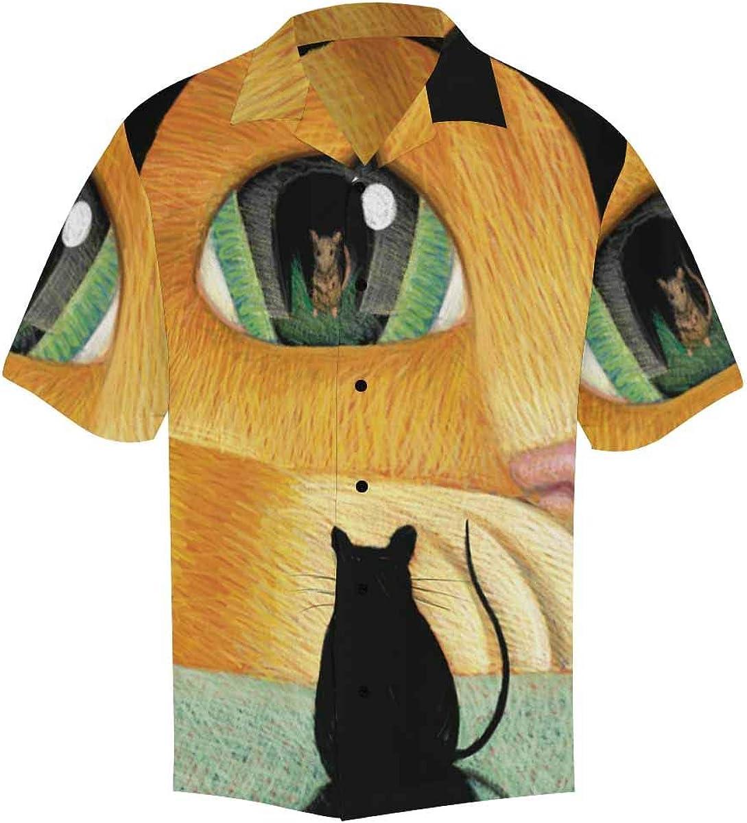 InterestPrint Men's Casual Button Down Short Sleeve Hawaiian Shirt Cat Polka Dot (S-5XL)