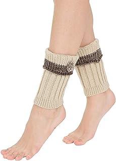 FAMILIZO Calcetines, Mujer De Invierno Caliente De Punto Calentadores De Piernas Ganchillo Leggings Calcetines De Arranque Flexible Tobilleros Antideslizantes