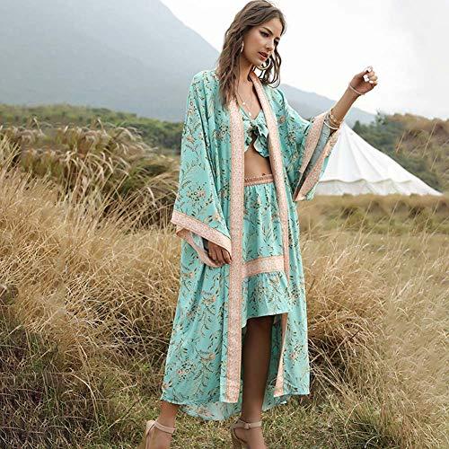 YYH Vrouwen Cardigan strandverflaag katoen badmode zomer kimono met bloemenpatroon Eén maat 4