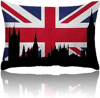 Anyangeight Union Jack Small Pillowcase Houses of The Parliament Silhouette on UK Flag Historic Urban Skyline Zipper Pillowcase 20