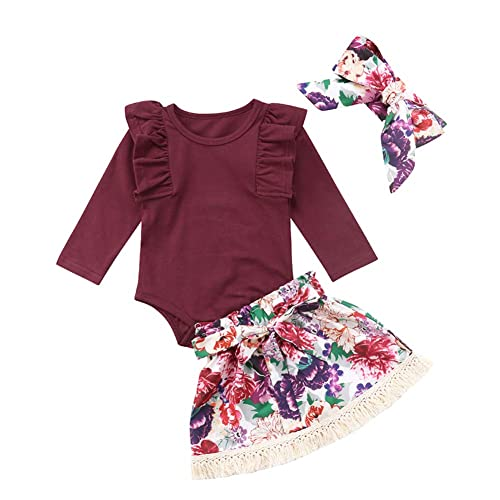 Infant Baby Girls Floral Outfit Set Blessed Print Romper Floral Ruffle  Shorts Clothes with Headband d15a64014