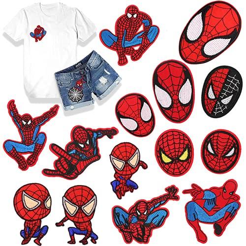 Toppe Termoadesive,Toppe per Vestiti 15 Pezzi Spiderman Toppe Divertente Carina Fai da Te Vestiti Patch Adesivi, per Maglietta Jeans Abbigliamento Borse