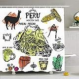Duschvorhang-Stadt-Peruanische Hand gezeichnetes typisches Lebensmittel Inca Abstract Culture Tribal Explore Waterproof Perus