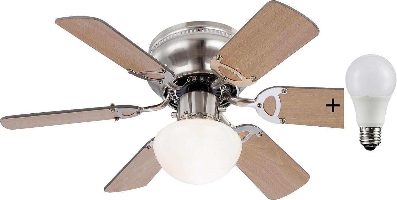 Deckenventilator mit Licht inkl. LED Leuchtmittel 9 Watt Zugschalter (Flügel zum Wenden, LED Deckenlampe, Deckenleuchte, Ventilator mit Beleuchtung, 76 cm)