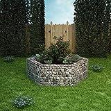 Lasamot Plantador de gaviones, Jardinera Hexagonal de gaviones con Tapas Alambre galvanizado Decoración de jardín Gabion Pared Acero galvanizado 160x140x50 cm