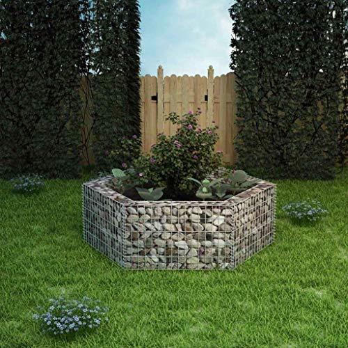 Lasamot Plantador de gaviones, Jardinera Hexagonal de gaviones con Tapas Alambre galvanizado...