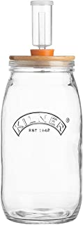 Kilner Fermentation Set, 6-Piece Kit Includes 3-Liter Glass Jar, Silicone Lid, Airlock and Bung, Ceramic Stones and a Recipe Booklet for at Home Fermenting and Pickling