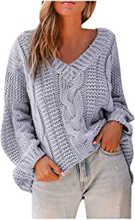 Sceoyche Womens Off The Shoulder Sweater Casual Knitted Loose Long Sleeve Pullover