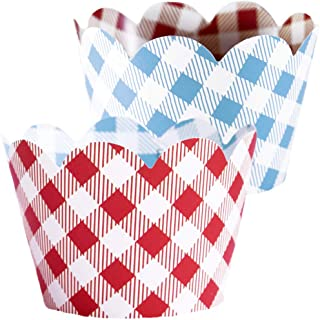 Red Checkered Cupcake Wrappers - 36   Farm Animals Birthday Party Supplies, I Do BBQ Decorations, Baby Q Shower Favor Bag Holder, Country Western Themed Cup Cakes, Cowboy B-Day, Blue Gingham Wraps