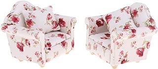 NATFUR 2pcs Miniature Floral Single Sofa Couch 1/12 Dollhouse Furniture Accessory
