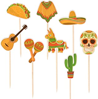 Donoter 48 Pcs Fiesta Cupcake Toppers Cactus Pinata Guitar Taco Maracas Poncho Skull Sombrero Hat Cake Picks for Mexican Themed Party Decorations