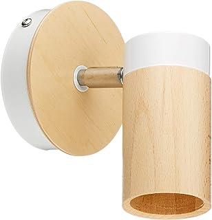 Homemania Lámpara de pared Baron Aplique, blanco de metal, madera, 15 x 15 x 18 cm