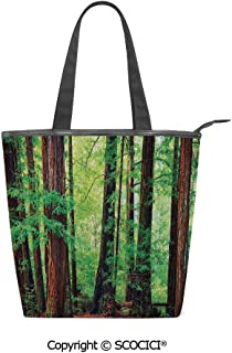 SCOCICI Canvas Tote Bag Redwood Trees Northwest Rain Forest Tropic Scenic Wild Nature Lush Women Casual Shoulder Bag Handbag