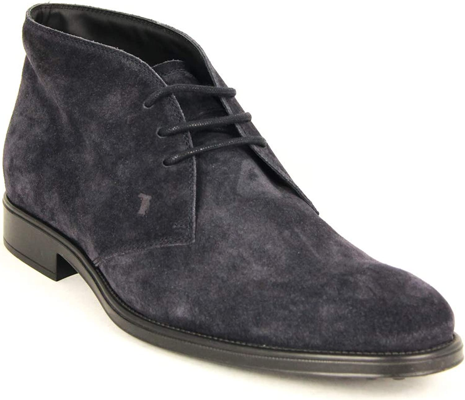 Tod's Men's Polacco Suede Leather Lace Up Oxfords Shoes, BLU Denim Scuro