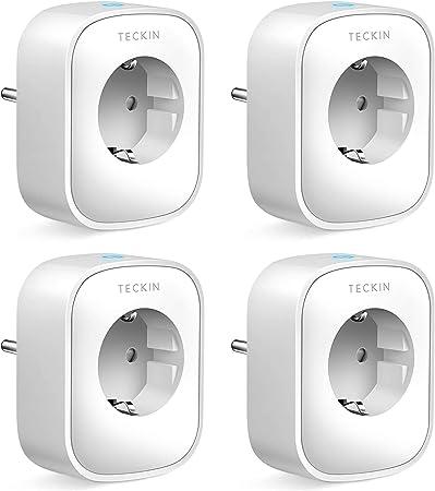 Enchufe Inteligente, 16A 3680W Enchufe WiFi Con Monitor de Energía, Compatible con Alexa & Google Home, Enchufe con Control Remoto y Función de Temporizado, Tomas de corriente alterna 4 Packs