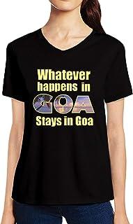 Pooplu Womens Stays in Goa Cotton Printed V Neck Half Sleeves Black & White Tshirt. Naughty Tshirts