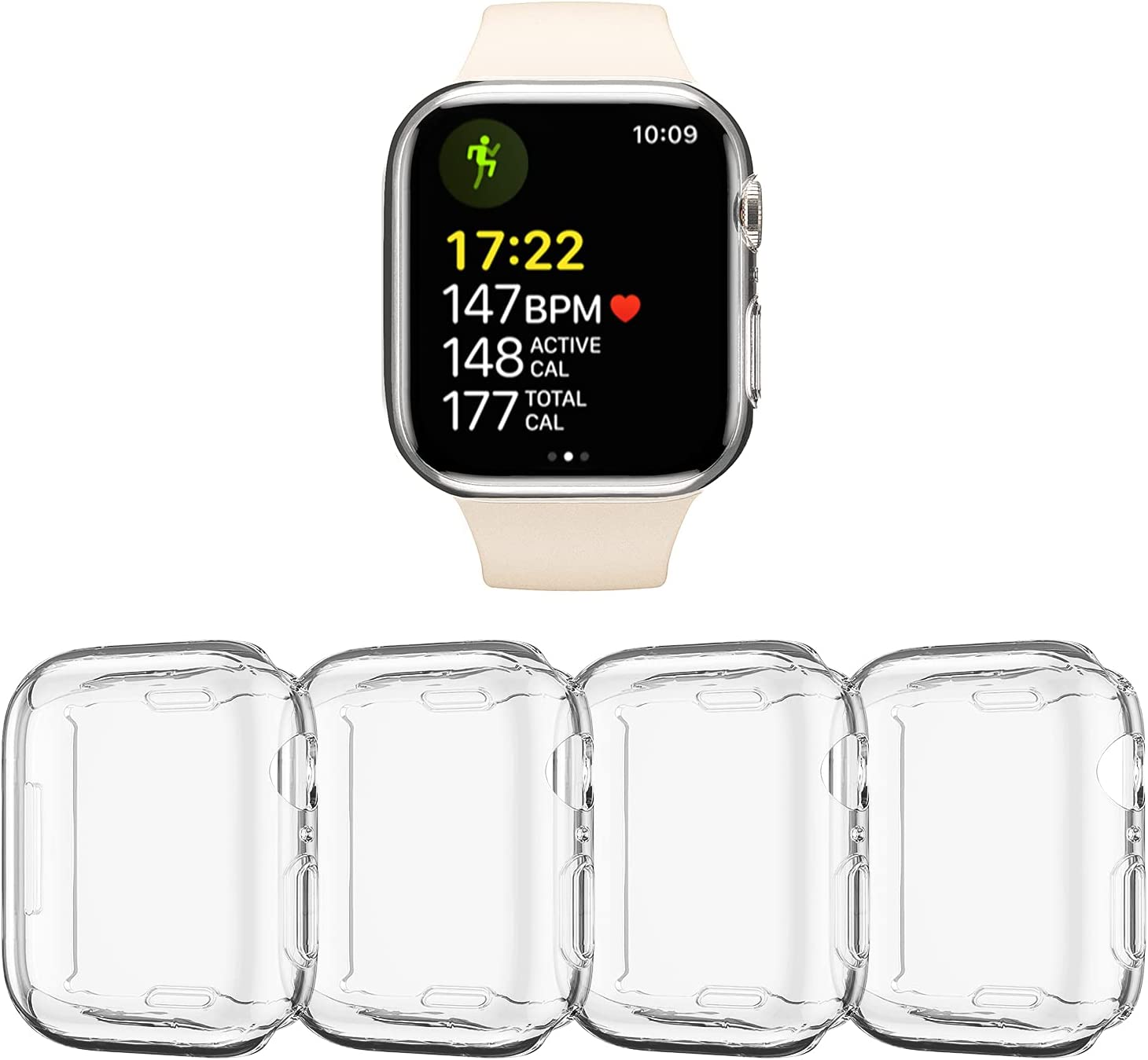 4 Pack Overall Protective Case TPU HD Clear Ultra-Thin Cover Screen Protector Compatible with Apple Watch Series 7 45mm,iWatch Accessories for Women and Men, Transparent