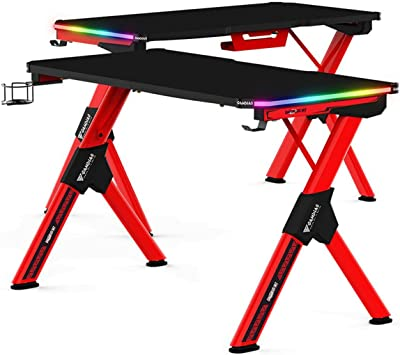 Gamdias Daedalus M2 RGB Carbon Fiber Surface Gaming Desk with Remote Control Built-in 15 Lighting Effects Two RGB Light Strips with Cup and Headset Holder Design - Black & Red