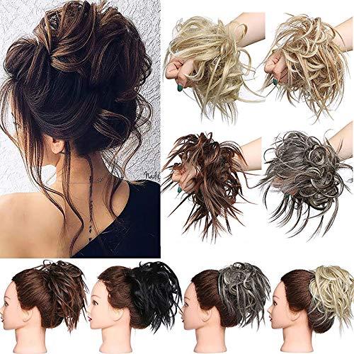 XXL Postiche Cheveux En Caoutchouc Chouchou Chignons VOLUMINEUX Bouclés Ou Chignon Décoiffé Extension a clip Cheveux Naturel Blonde cendrée
