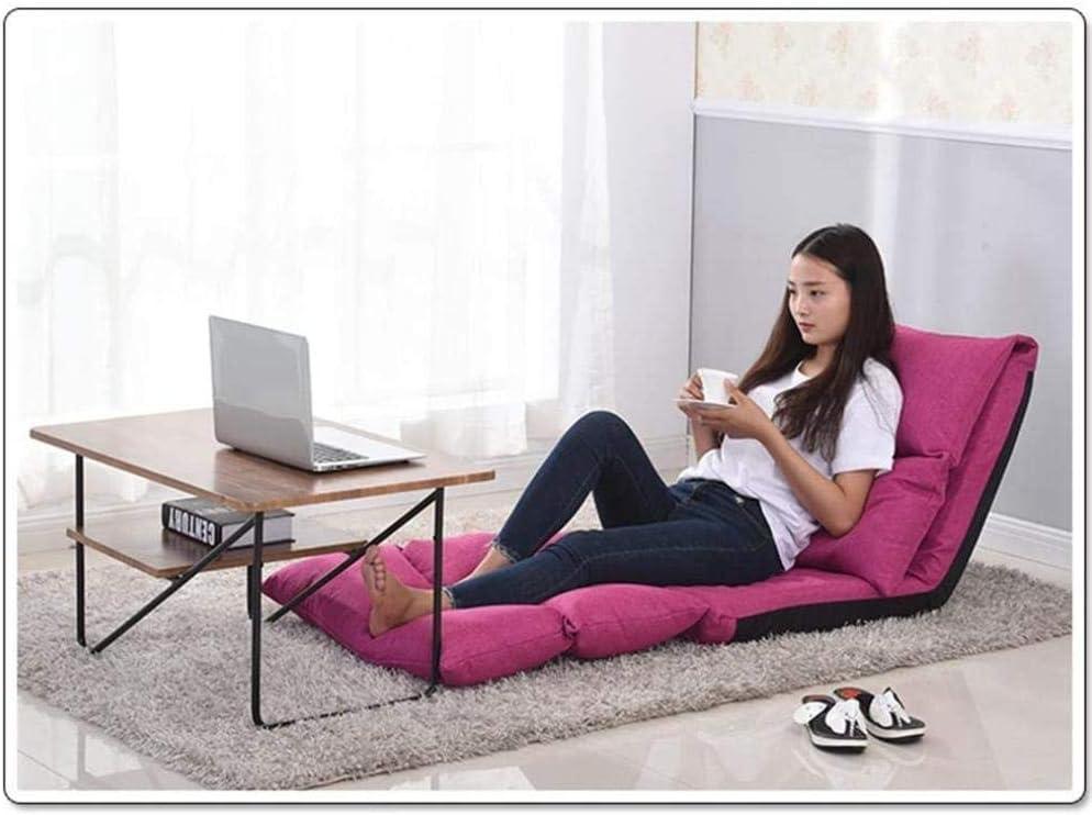 Chaise De Bureau Folding Lazy Sofa Chair Réglage À 5 Vitesses Pliable Facile À Retirer Et À Laver Confortable Et Respirant -Rose_Red Rose Rouge