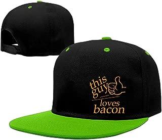 YLSD This Guy Loves Bacon Baseball Adjustable Hip Pop Cap Baseball Caps Unisex,men And Women Red