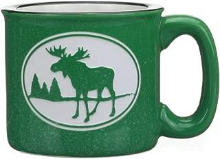 Cape Shore Green Etched Moose 15 Ounce Coffee Tea Mug Cup