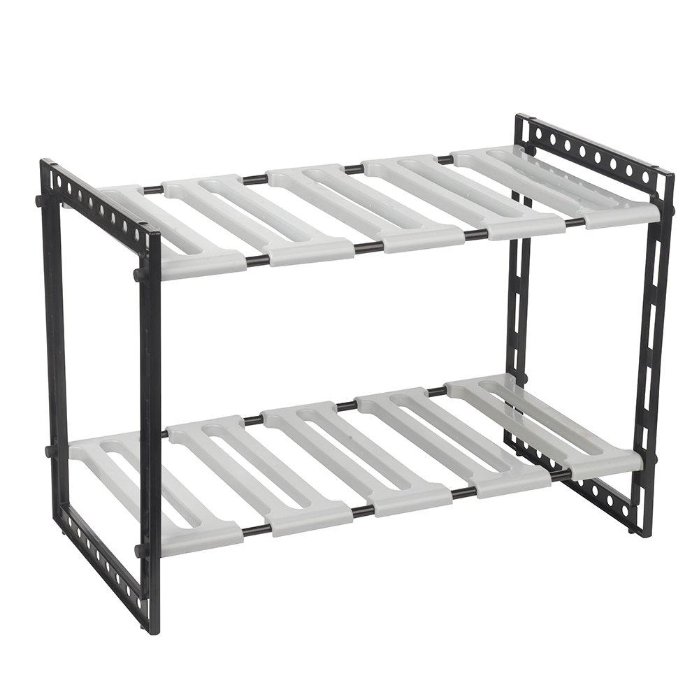 Organizador de almacenamiento para colocar debajo del fregadero, con 2 estantes, armario ajustable: Amazon.es: Hogar
