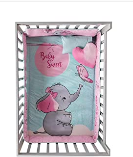 JORGE'S HOME FASHION INC HOT Seller Sweet Little Elephant Baby Girls Crib Bedding Set Nursery 6 PCS 100% Cotton