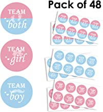 Team Girl & Team Boy Button Sticker - Gender Reveal Party Games Baby Shower Party Ideas, Wear Your Guess, Girl or Boy, He or She Sticker (Set of 48, Round 2.2