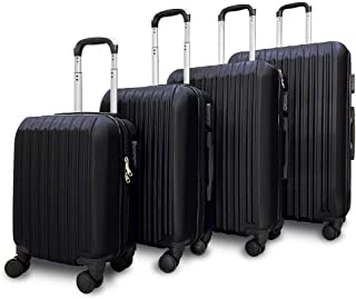 Fridtrip 4 Piece Hardshell Luggage Sets,Travel Suitcase,Carry On Luggage with Spinner Wheels (Black)
