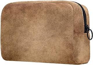 Classic Brown Pattern Makeup Bag Toiletry Bag for Women Skincare Cosmetic Handy Pouch Zipper Handbag