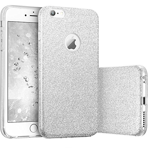 Coovertify Funda Purpurina Brillante Plateada iPhone 6/6S, Carcasa Resistente de Gel Silicona con Brillo Gris Plata para Apple iPhone 6 6S (4,7')