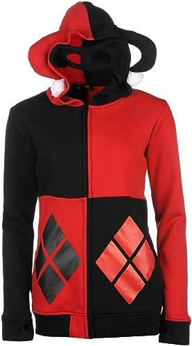 Harley Quinn Bathomme Sweat zippé à Capuche pour Femme Rouge Noir Sweat à Capuche Veste Sweat-Shirt Top