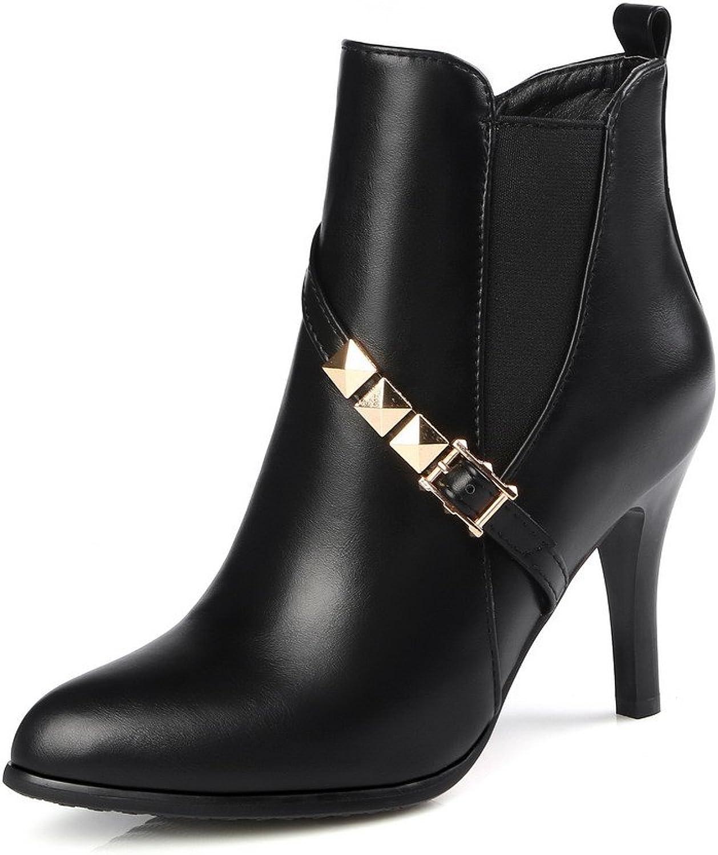 AmoonyFashion Women's Zipper Spikes Stilettos Pu Solid Low Top Boots