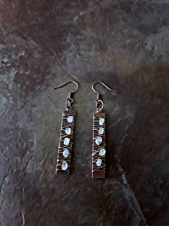 Speckled Rainbow Moonstone Wire Wrapped Earrings Gold and Copper