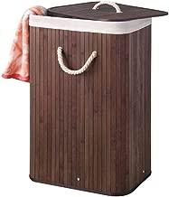 Perel HP100204 Panier à linge, coffre à linge Bambou marron 40 x 30 x 60 cm