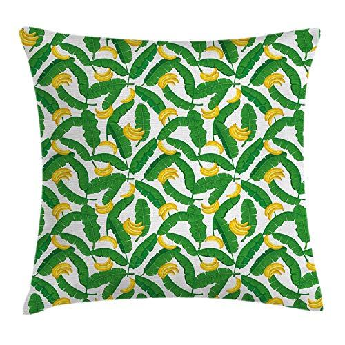 Botany - Funda de cojín, diseño de plátano con hojas de palma tropicales gigantes, diseño de naturaleza, 45,7 x 45,7 cm, verde y amarillo
