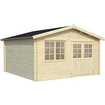 Casa de jardín Ulmus U23 natural – Caseta de listones de 28 mm, superficie: 15,70 m2, tejado: Amazon.es: Bricolaje y herramientas